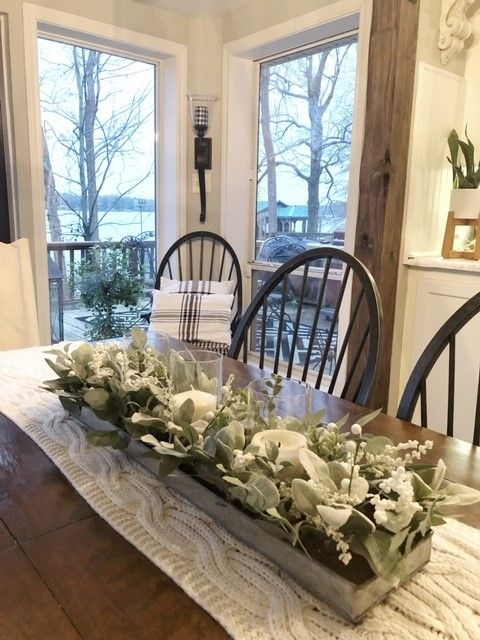 The Dining Room Table Is The Easiest Place To Begin When Updating That Room The Dinning Room Table Decor Farmhouse Table Centerpieces Dining Room Table Decor