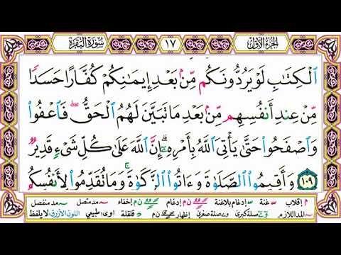 القرآن الكريم مقسم صفحات الشيخ حاتم فريد سورة البقرة صفحة 17 مكتوبة مصحف التجويد الملون Calligraphy