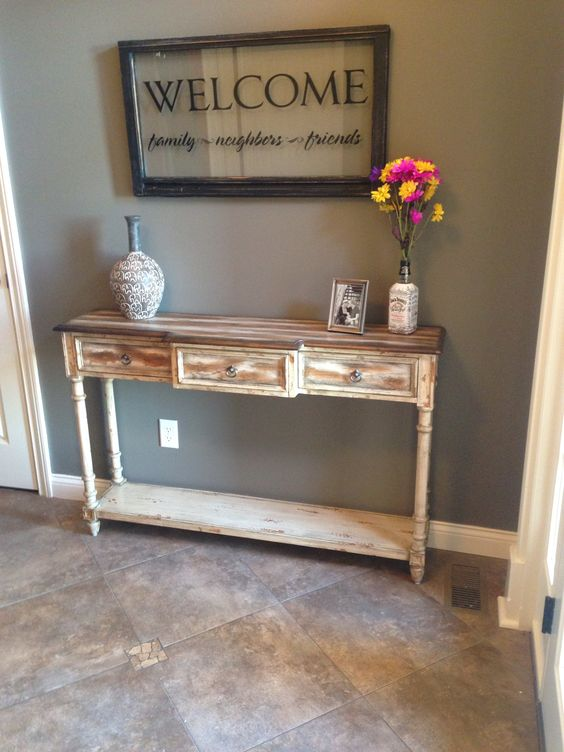 Foyer tables foyers and the wall on pinterest for Entry wall table