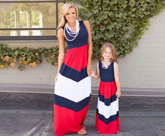 Mommy and Me 4th of July Chevron Maxi Dress: