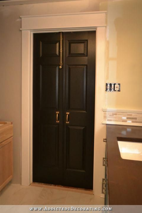Finished Bi Fold Closet Doors Used As Double Doors Note The Molding Kristi Used To Provide Comp Double Doors Interior French Doors Interior Bifold Closet Doors