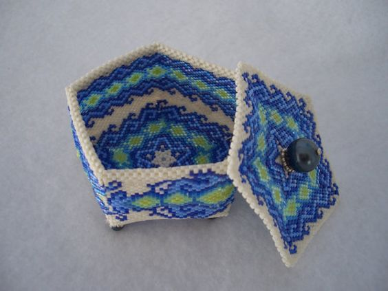 Hand Stitched Dragon Pentagon Beaded Box by AcadianGlassArt
