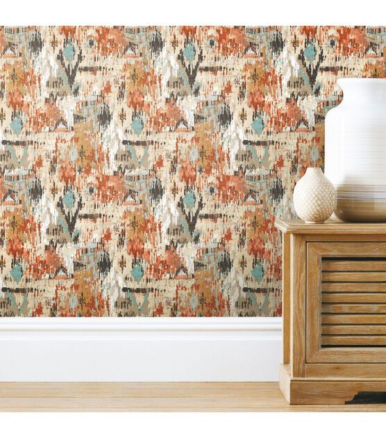 York Wallcoverings Wallpaper Orange Aztec Joann In 2020 Peel And Stick Wallpaper Aztec Wallpaper Wallpaper Roll