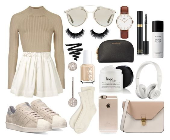 """""""⁑creme⁑"""" by patricia-manso on Polyvore featuring moda, Topshop, adidas, Marc Jacobs, 8, Christian Dior, Falke, Incase, Beats by Dr. Dre e Michael Kors"""