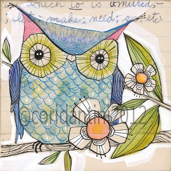 blue owl - watercolor painting - illustration - 8 x 8 inches - archival, limited edition print by cori dantini via Etsy