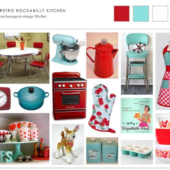 Retro Kitchen Inspiration: Kitchen Inspiration- Retro Blue, Red, Polka Dots, And Cherries