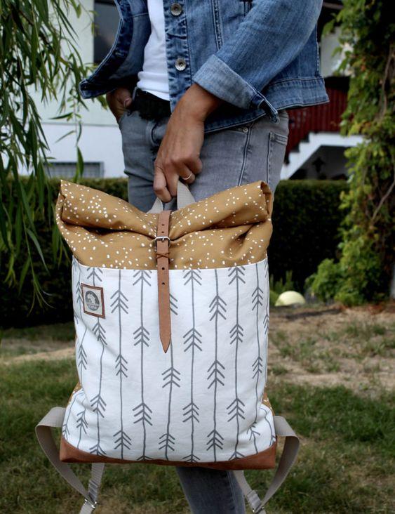 DIY Tutorial Rolltop Rucksack mit Spoonflower Stoff