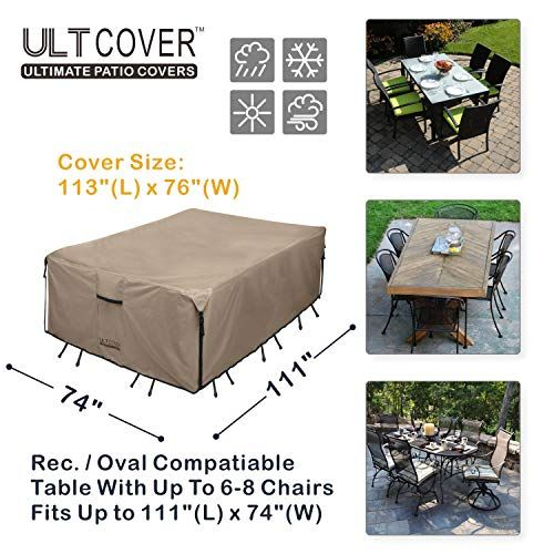 Ultcover 600d Pvc Durable Rectangular Patio Table With Chair Cover Waterproof Outdoor Furniture Ta In 2020 Waterproof Outdoor Furniture Patio Table Outdoor Furniture