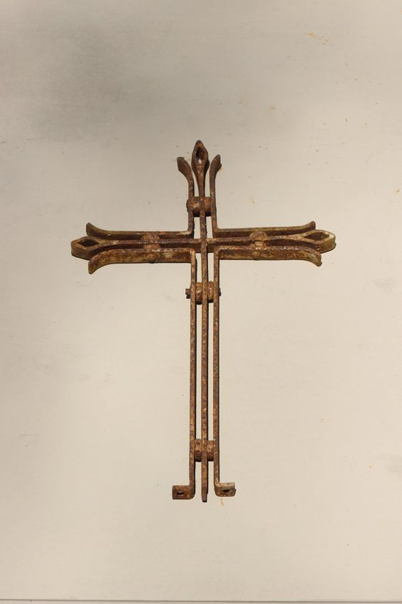 French Cross. Antique Cross. Wrought Iron by LePasseRecompose