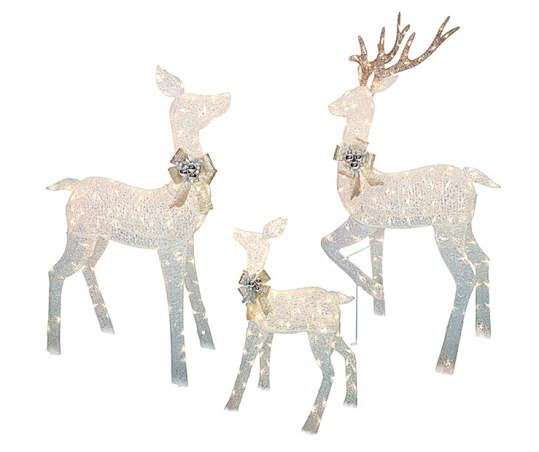 White Led Light Up Deer Family 3 Piece Set Big Lots Deer Family Reindeer Outdoor Decorations Outdoor Reindeer