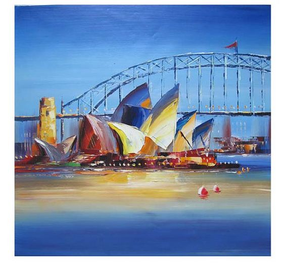Abstract oil opera house and abstract oil paintings on for Oil paintings for the home
