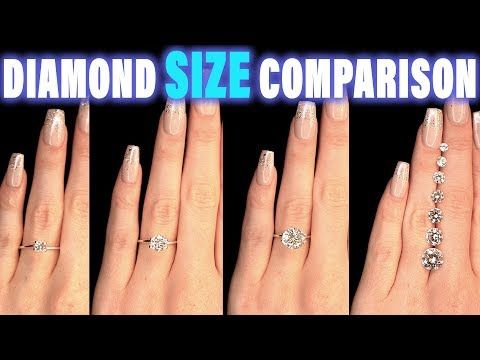 Diamond Size Comparison On Hand Finger Carat 1 2 3 4 0 5 Ct 0 25 0 75 1 5 0 3 0 8 0 Engagement Rings On Finger Diamond Carat Comparison Engagement Ring On Hand