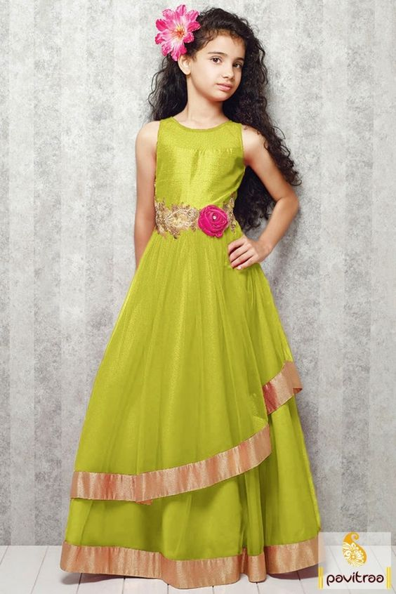 Stylish long girl kids georgette yellow green dress for all the ...
