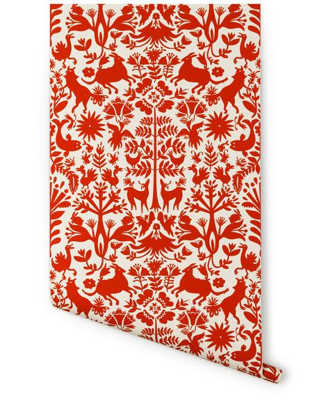 Hygge & West | Otomi (Almost White/Red) Wallpaper