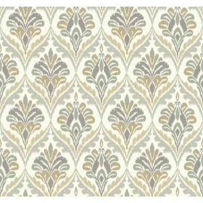 "York Wallcoverings Modern Shapes 27' x 27"" Basilica Wallpaper Color: Off White/Gray/Khaki"