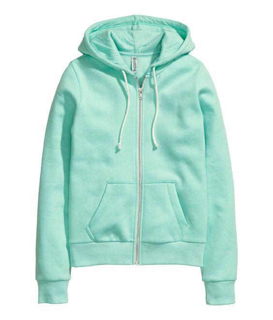 c9d9f640039 Mint green zip-up hoodie in soft sweatshirt fabric