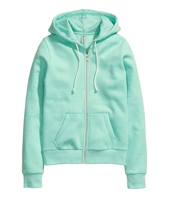 Mint green zip-up hoodie in soft sweatshirt fabric, with front pockets & brushed inside. | H&M Pastels