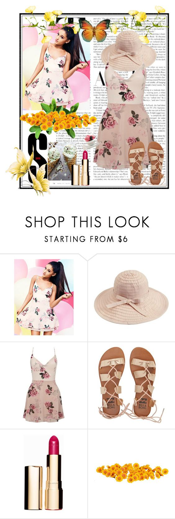 """Summer"" by dudavagsantos ❤ liked on Polyvore featuring Lipsy, Billabong, Clarins and Summer"