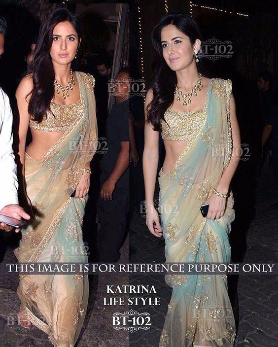 Katrina Replica saree based on net with banarasi silk blouse  Price - INR 2300 #salwarsuit #bridalwear  #indianfashionista #indianbride #anarkali #bridesmaids #indianwomenethnic  #lehenga #desigirl #loveforindianwear #mumbaifashion #mumbaigirls #trousseau #saree #bigfatindianwedding #designeranarkali #couture #desifashion #designerlehenga  #indianwedding  #salwar #sareegown #bridallehenga  #bollywoodstyle #indowestern #punjabisuit #lehengasaree #bollywoodreplica  #omayaa Please contact…