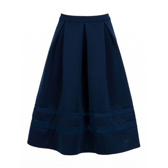 Choies Navy High Waist Mesh Insert Midi Skater Skirt (76 ILS ...