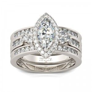 3PC Halo Marquise Cut Created White Sapphire Rhodium Plating Sterling Silver Women's Ring