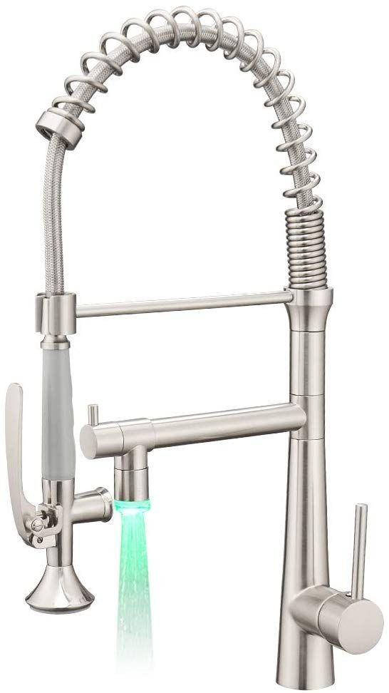 Aimadi Pull Down Kitchen Faucet With Sprayer Commercial Single Handle Stainless Steel Brushed N In 2020 Kitchen Faucet With Sprayer Kitchen Sink Faucets Kitchen Faucet