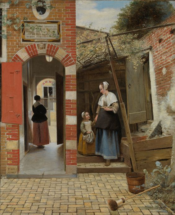 Pieter de Hooch, 1629-1684, Dutch, The Courtyard of a House in Delft, 1658. Oil on canvas, 73.5 x 60 cm. National Gallery, London.
