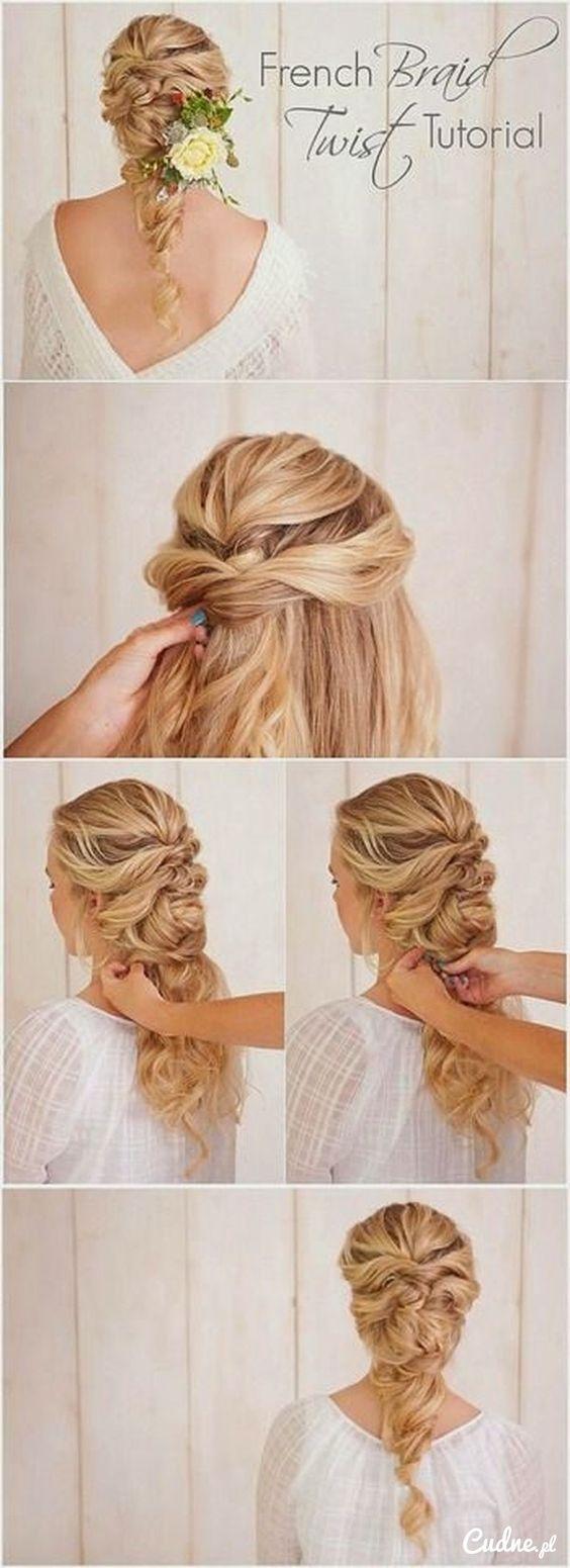 Piękne upięcie na długie włosy z kwiatem