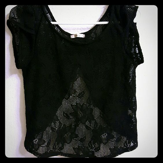 Black Backless Lace Blouse Black Lace with open lower back short sleeves Tops Blouses