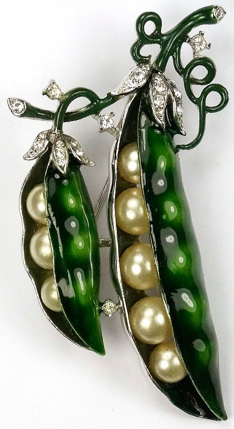 Trifari 'Alfred Philippe' Enamel and Pearls Double Peas in the Pod Pin: