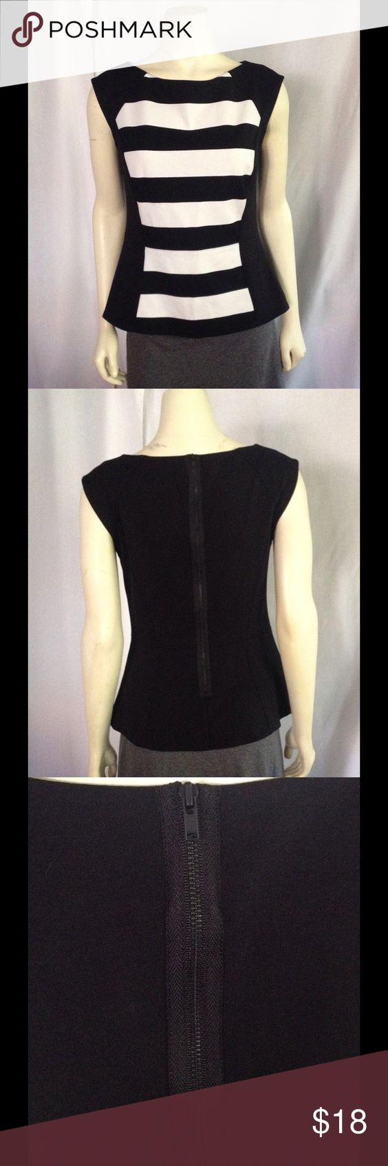"NWOT Halogen Nordstrom b/w colorblock peplum top S NO TRADES.  New without tags! Classy and nicely tailored, with cap sleeves. Long, chunky black rear zipper closure. Lying flat and unstretched, the measurements are: Bust 18"", Waist 14.5, Bottom hem 20"", Shoulder to hem 21.5"". Happy to Bundle and negotiate - Make me an offer! Halogen Tops"