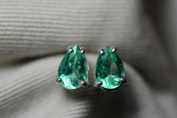 Emerald Earrings, Tear Drop Emerald Earrings 1.46 Carat Colombian Emeralds Appraised at 1752.00 Genuine Emeralds Set In Sterling Silver