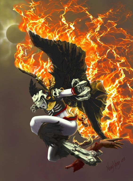 """Itzpapalotl- Aztec myth: name means """"obsidian butterfly"""". She is a skeletal goddess that rules paradise. She has obsidian wing blades and obsidian talons. She sometimes turns into a beautiful human woman."""
