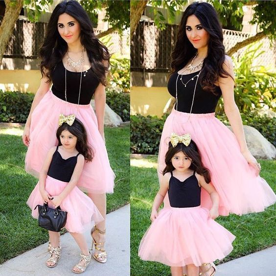 Mother Daughter Casual Summer T-shirt Skirt Tulle Dress Matching Outfits USA wea