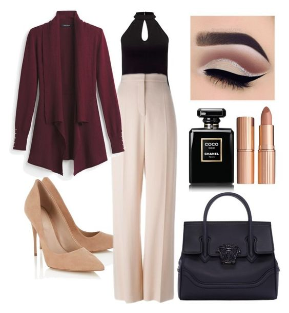 """Sin título #31"" by dayleensteph on Polyvore featuring Belleza, Miss Selfridge, Lipsy, STELLA McCARTNEY, White House Black Market, Versace y Charlotte Tilbury"