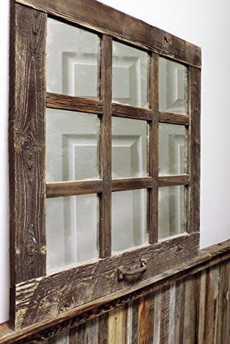 Rustic Barnwood Window Mirror 24 X 24 9 Pane Window Mirror