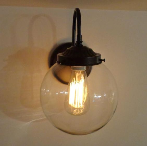 Biddeford. Wall Sconce LARGE Clear Globe - Mason Jar Light Fixture - The Lamp Goods - 2