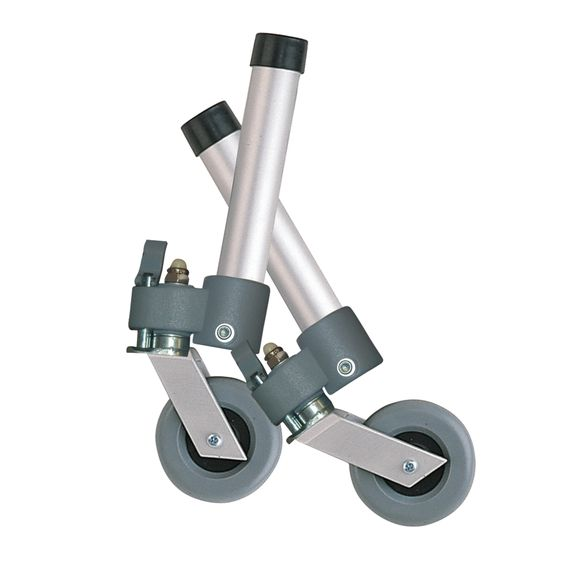Drive Medical Aluminum (Silver) Locking Swivel Walker Wheels with Two Sets of Rear Glides (1)
