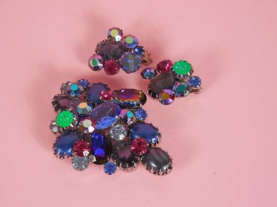 1950 D and E Juliana Blue and Pink Aurora Borealis Demi Parure Set DeLizza and Elster