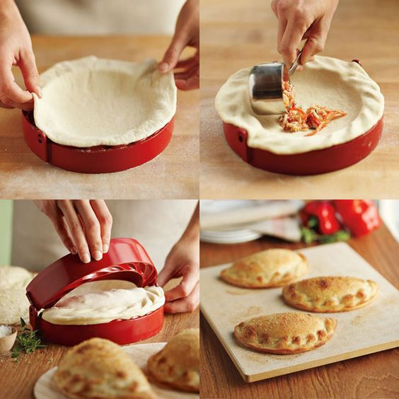 The Calzone mold from Williams-Sonama http://www.williams-sonoma.com/products/calzone-maker/ What a yummy gift to make and give, if you did not eat them all up first!