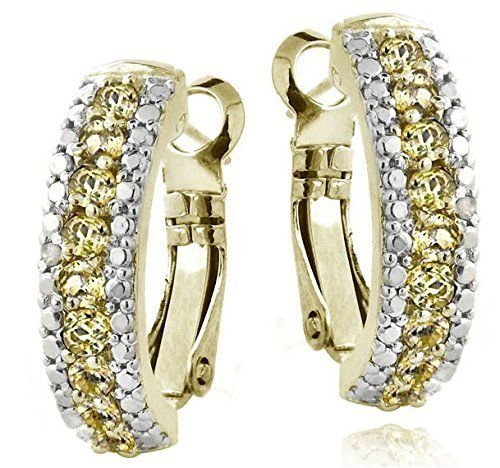 Citrines on Goldtone Glitzy Rocks Gemstone and Diamond Accent Hoop Earring Set http://www.bonanza.com/listings/257940386