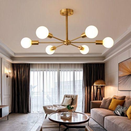 Nordic Modern Branching 6 Light Bedroom Semi Flush Mount In Brass