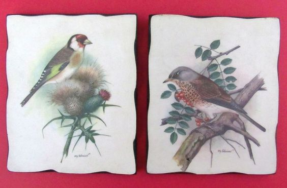 2  Vintage Wood Wall Hanging Ph.Gomer Wild Bird Pictures Decorettes