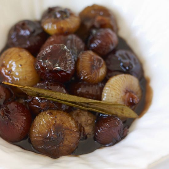 Balsamic-Glazed Cipollini with Lemon and Bay Leaveses | Called cipollini agrodólce in Italian for their sweet-and-sour vinegar glaze (agro means sour; dólce, sweet), these soft and tangy onions are a fantastic accompaniment to any rich roast meat.