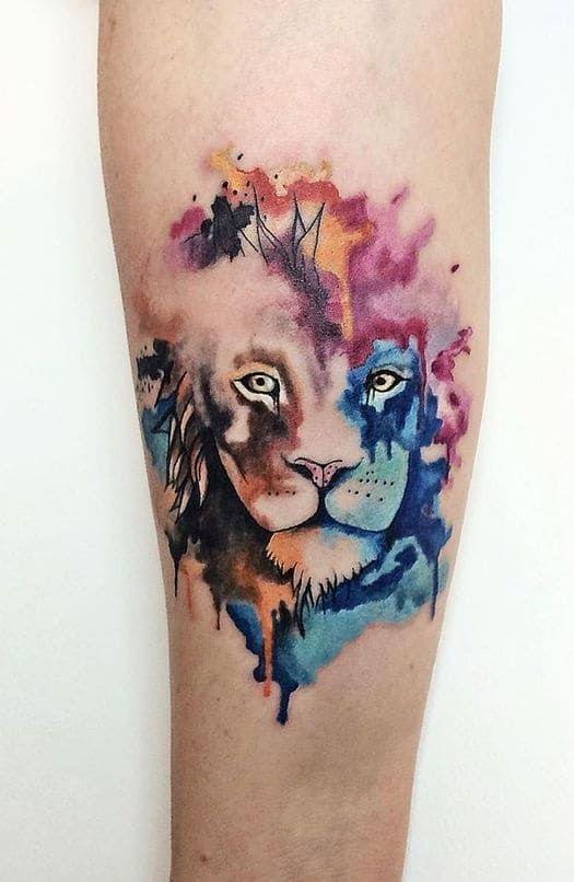Watercolor Female Lion Tattoo Watercolor Feminine Le In