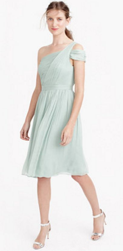 Silk Chiffon Grecian Cocktail Dress in Aqua