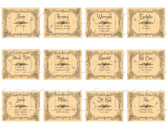 Buy One Get One Free  Printable Digital Wiccan Herb by MakeMeDigi, $1.99 I so want these!