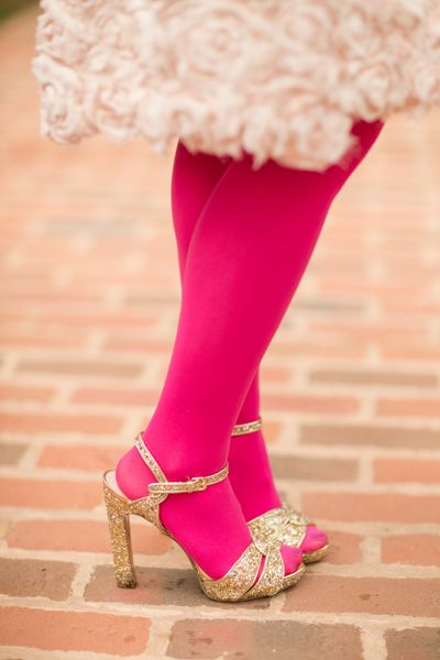 hot pink tights + gold glitter shoes, photo by katelyn ...