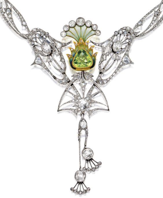 Detail: Art Nouveau plique-à-jour enamel, peridot, and diamond necklace, circa 1900. Via Diamonds in the Library.