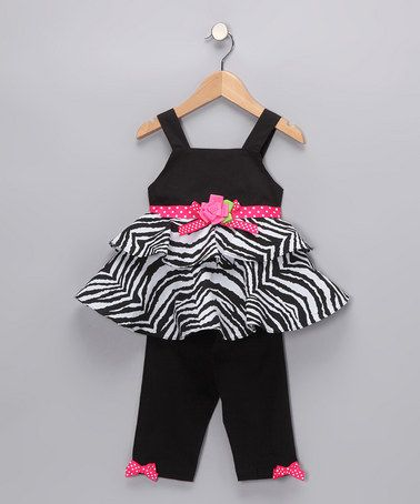 LOVE this Black & White Zebra Tunic & Leggings - Toddler by Rare Editions on #zulily today!
